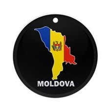 Flag Map of Moldova Ornament (Round)