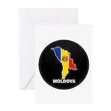 Flag Map of Moldova Greeting Card