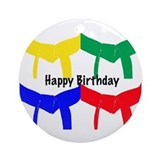 Martial Arts Happy Birthday Ornament (Round)