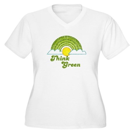 Think Green Women's Plus Size V-Neck T-Shirt