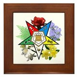 Eastern Star Floral Emblems Framed Tile