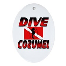 Dive Cozumel (red) Oval Ornament