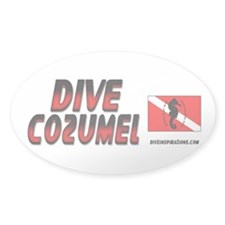 Dive Cozumel (red) Oval Decal