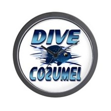 Dive Cozumel (blue) Wall Clock