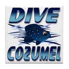 Dive Cozumel (blue) Tile Coaster