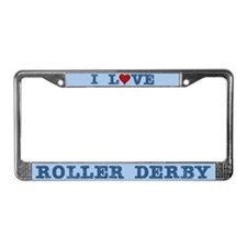 I Love Roller Derby License Plate Frame