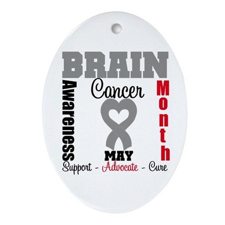 Brain Cancer Month Oval Ornament