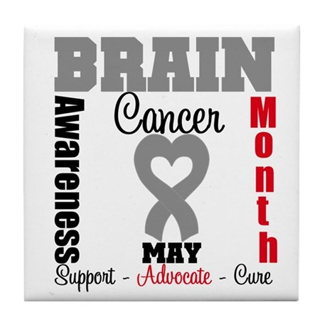 Brain Cancer Month Tile Coaster