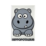 Cartoon Hippopotamus Rectangle Magnet