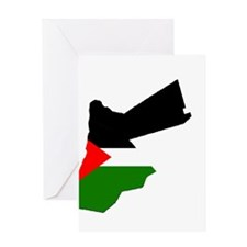 Jordan Flag Map Greeting Card