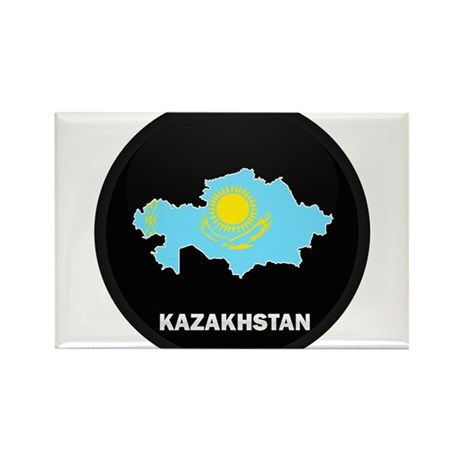 Flag Map of Kazakhstan Rectangle Magnet