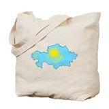 Kazakhstan Flag Map Tote Bag