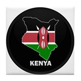 Flag Map of kenya Tile Coaster