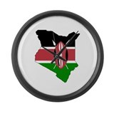 kenya Flag Map Large Wall Clock