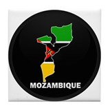 Flag Map of mozambique Tile Coaster