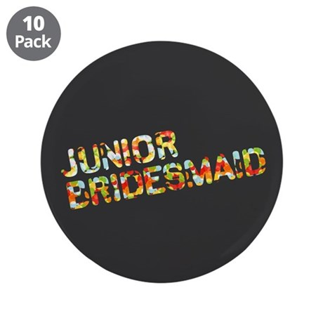 "Funky Bubbles Jr Bridesmaid 3.5"" Button (10 pack)"