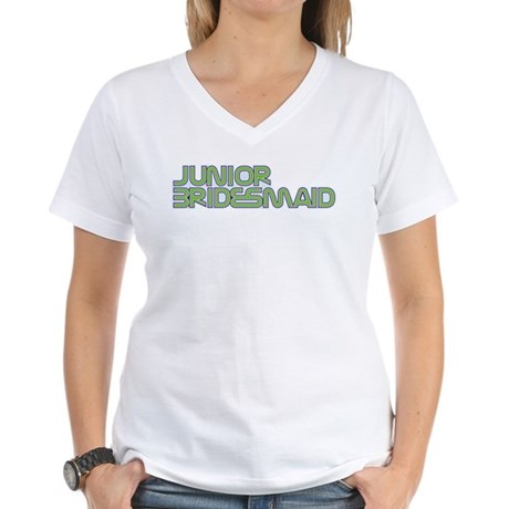 Streamline Green Jr Bridesmai Women's V-Neck T-Shi