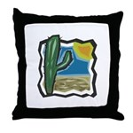 Cactus Desert Scene Throw Pillow
