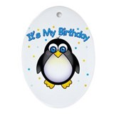 Birthday Penguin Oval Ornament