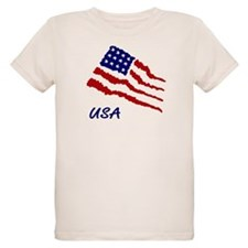 Kids Organic American Flag Tee July 4th