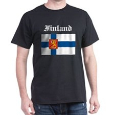 Finland Flag Black T-Shirt