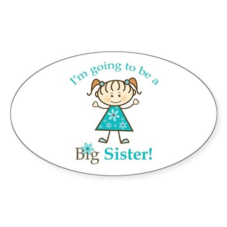 Big Sister To Be Stick Figure Oval Sticker (50 pk)