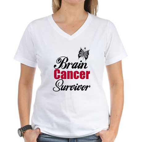Brain Cancer Survivor Women's V-Neck T-Shirt