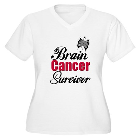 Brain Cancer Survivor Women's Plus Size V-Neck T-S