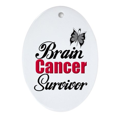 Brain Cancer Survivor Oval Ornament