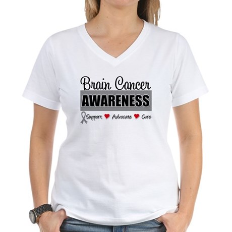 Brain Cancer Awareness Women's V-Neck T-Shirt