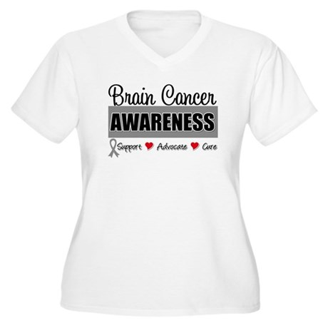 Brain Cancer Awareness Women's Plus Size V-Neck T-