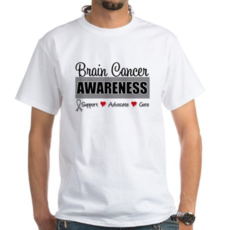 Brain Cancer Awareness White T-Shirt