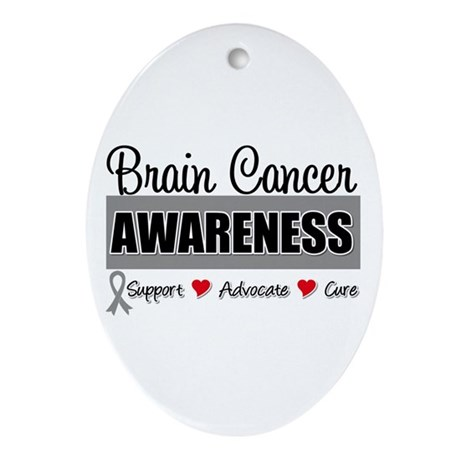 Brain Cancer Awareness Oval Ornament