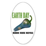 Earth Day Global Warming Oval Sticker (10 pk)