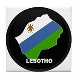 Flag Map of lesotho Tile Coaster