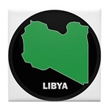 Flag Map of Libya Tile Coaster