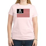 USA Pirate Flag Women's Pink T-Shirt