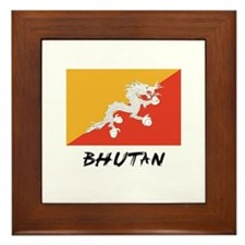 Bhutan Flag Framed Tile