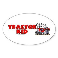 Red Tractor Kid Oval Decal