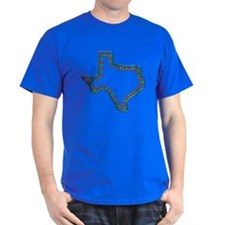 Texas Christmas Lights Black T-Shirt