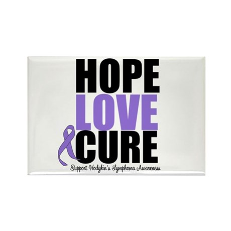 Hodgkins Hope Love Cure Rectangle Magnet