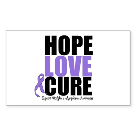 Hodgkins Hope Love Cure Rectangle Sticker 50 pk)