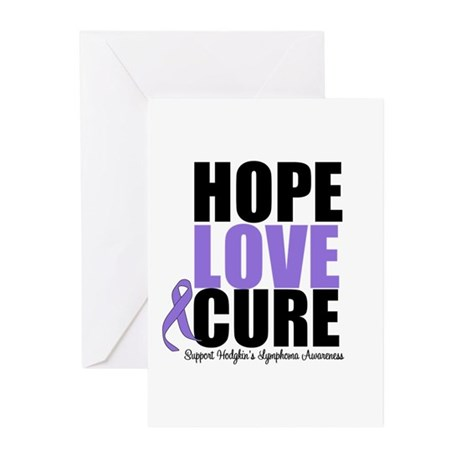 Hodgkins Hope Love Cure Greeting Cards (Pk of 20)