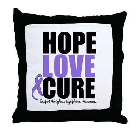 Hodgkins Hope Love Cure Throw Pillow