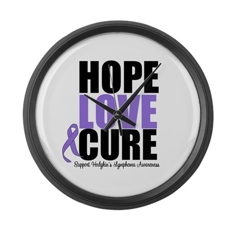 Hodgkins Hope Love Cure Large Wall Clock