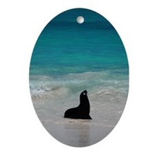 Sea Lion Silhouette Oval Ornament