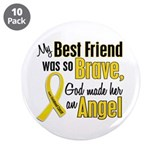 "Angel 1 BEST FRIEND Child Cancer 3.5"" Button (10 p"