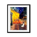 Cafe / Rat Terrier Framed Panel Print