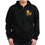 Cafe / Rat Terrier Zip Hoodie (dark)
