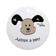 Adopt a Pet! Cute Puppy Design Ornament (Round)